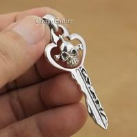 925 Sterling Silver Skull Key Mens Biker Rocker Punk Pendant 9V014 Free Shipping