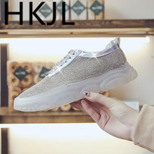 HKJL Fashion Hong Kong style shoes ladies sponge cake water drill 2019 new crystal platform ins A381