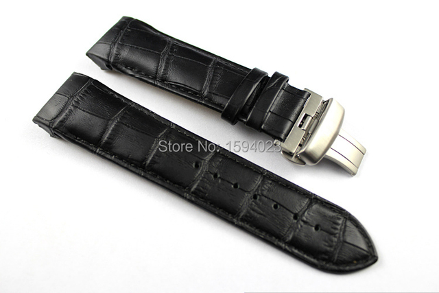 24mm (Buckle 22mm) T035627 T035614 High Quality Silver Butterfly Buckle + Black