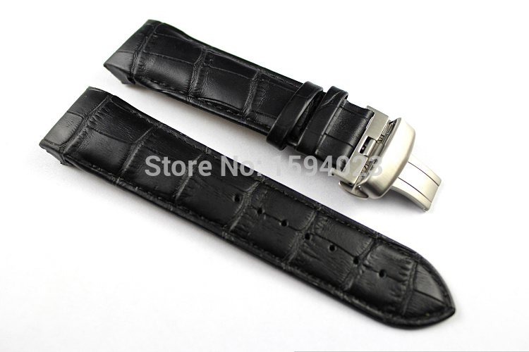 24mm (Toka 22mm) T035627 T035614A Yüksek Kalite Gümüş Kelebek Toka + Siyah Hakiki Deri Watchband kemerler Için T035 adam