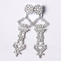 European And American Style Wind Personality Retro Crystal Silver Plated Single Earrings Full Of Long Ear
