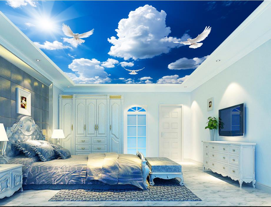 Customized 3D Ceiling Wallpaper Mural Blue Sky and White Clouds Bedroom 3d Ceiling Living Room Wall papers Home Decor 3d Modern custom 3d stereo ceiling mural wallpaper beautiful starry sky landscape fresco hotel living room ceiling wallpaper home decor 3d
