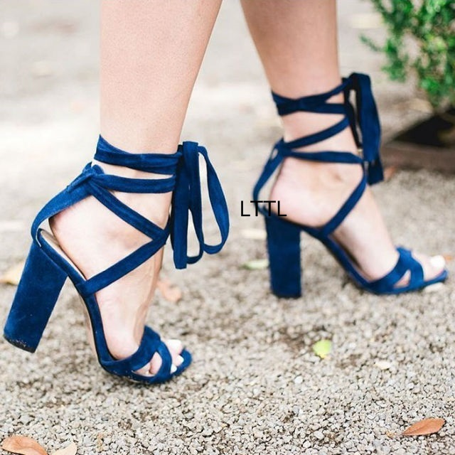 979c5d5992 Women Simply Design Super Elegant Chunky High Heel Sandals Fancy Open Toe  Block Heel Ankle Wrap Lace Up Dress Sandals HotSelling