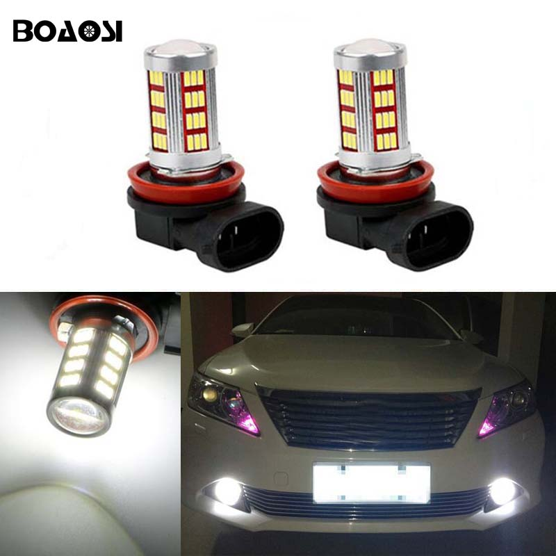 BOAOSI 2x Led H8 H11 Car Fog Driving Lamp Light Bulb For Toyota Prius Camry 2007-2014 Corolla 2011-2014 boaosi 1x h8 h11 samsung 2835smd led fog light driving bulb canbus decoders error free for mercedes benz w211 w212 w164 w221