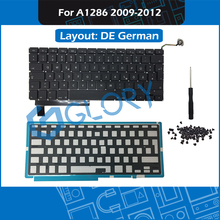 New A1286 Keyboard DE German Layout For Macbook Pro 15″ 2009-2012 GER Germany Keyboard with Backlight Screws Replacement