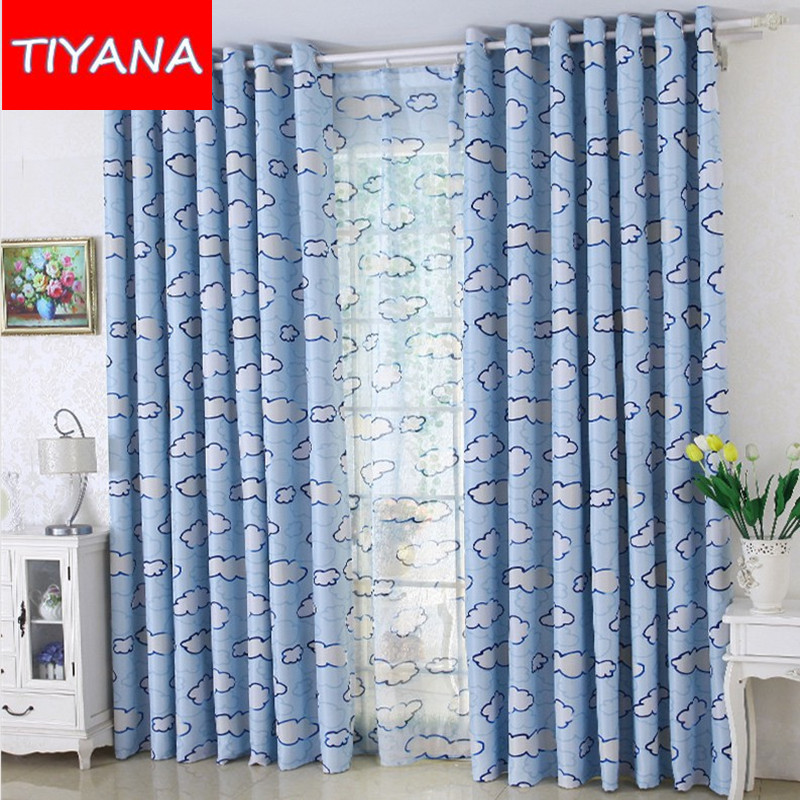 Finished Window Curtains For Living Room New Print Clouds Cortinas Fabric For Children Bedroom Curtain Drapes For Kids AG084&30
