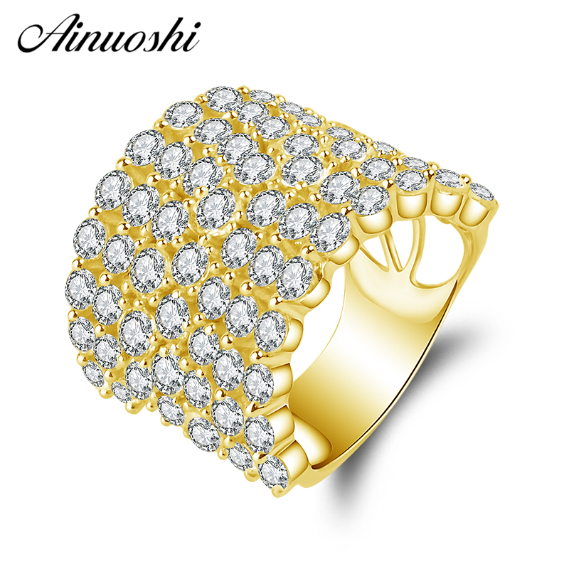 AINUOSHI 14K Solid Yellow Gold Wedding Band Flower Blossom Cluster Ring Wedding Anniversary Marriage Jewelry Gifts