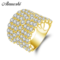 AINUOSHI 14K Solid Yellow Gold Wedding Band Flower Blossom Cluster Ring Wedding Anniversary Marriage Jewelry Gifts for Women Men