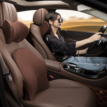 Auto Cuscino del Collo e di Supporto del Sedile Poggiatesta Affari di Gomma Piuma di Memoria Cuscino del Sedile Auto Accessori Interni Maglieria In Pelle Cuscini Auto