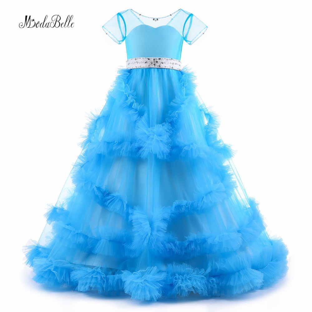 Modabelle Mavi Çiçek Kız Elbiseler Bulut Başlayan Balo Balo Doğum Günü Kızlar Glitz Vestido Infantil Çocuklar Parti Elbiseler 2018