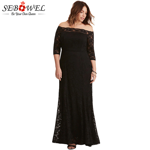 b6cdc839df5 SEBOWEL Plus Size Sexy Black Lace Off Shoulder Long Maxi Party Dress Women  Elegant Big Size 5XL Floor Length Bodycon Dresses