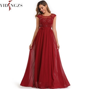Image 2 - YIDINGZS Elegant Chiffon Formal Evening Dress Appliques Beading Long Party Dress 2020