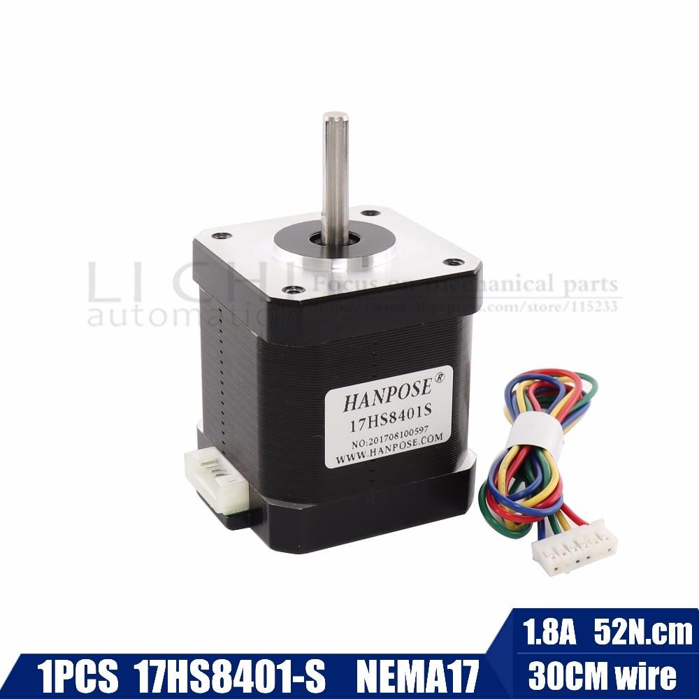 Free Shipping 1pcs Stepper Motor 4-lead Nema17 48mm / 78Oz-in / 1.8a Nema 17 motor 42BYGH 1.8A (17HS8401S) black motor