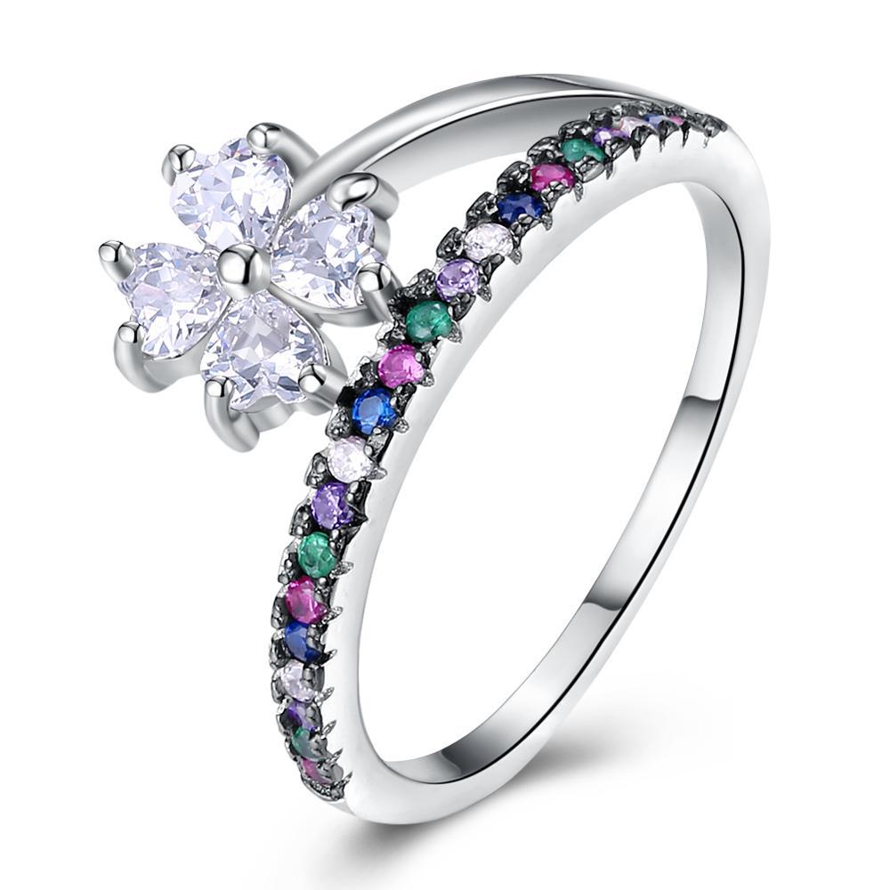Hochzeit Schmuck Weibliche Ringe Anel Hell Hnsp 925 Silber Pflanze Blume Ring Für Frauen Verlobung