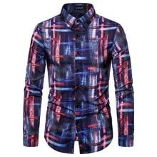 New Men's Long Sleeve Casual Shirt Fashion Abstract Print Shirt Lapel Slim Shirt Men's Clothing недорого