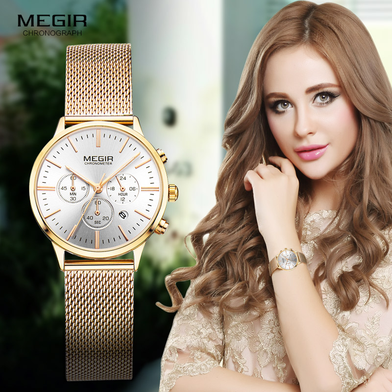 Megir Women's Chronograph Luminous Hands Datum Indikator Rostfritt Stål Mesh Rem Kvarts Armbandsur Lady Rose Gold M2011L-1