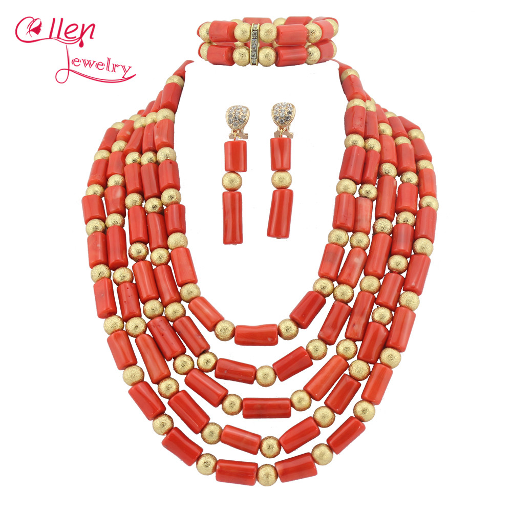 African Coral Jewelry Set Coral Beads Necklace Set Nigerian African Wedding Beads Jewelry Set TL1648 цена
