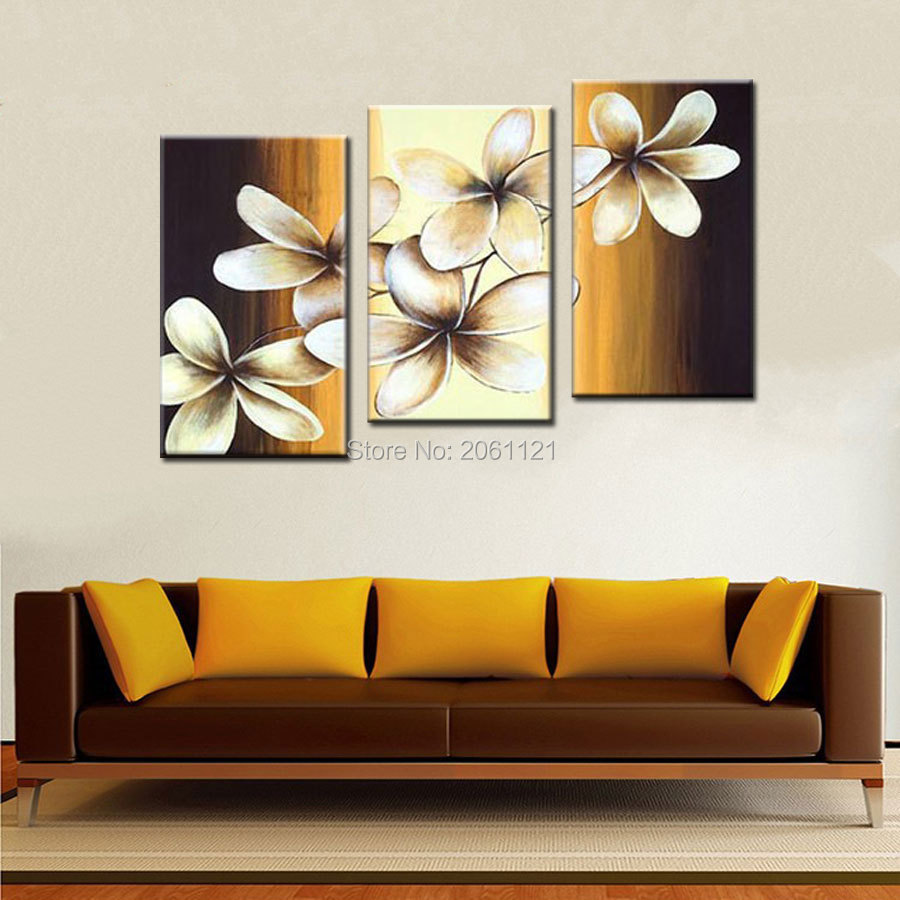 handpainted artwork brown yellow Wall Decor flower Landscape Oil Painting on canvas 3pcs set combination oil picture cheapsimple in Painting Calligraphy from Home Garden