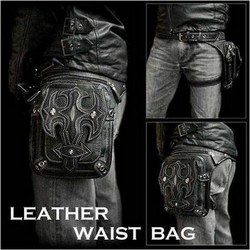 Steampunk taille sac femmes cuir jambe sac hommes gothique Punk sacs sac à main rétro Rock Vintage téléphone Mobile Mini Packs offre spéciale