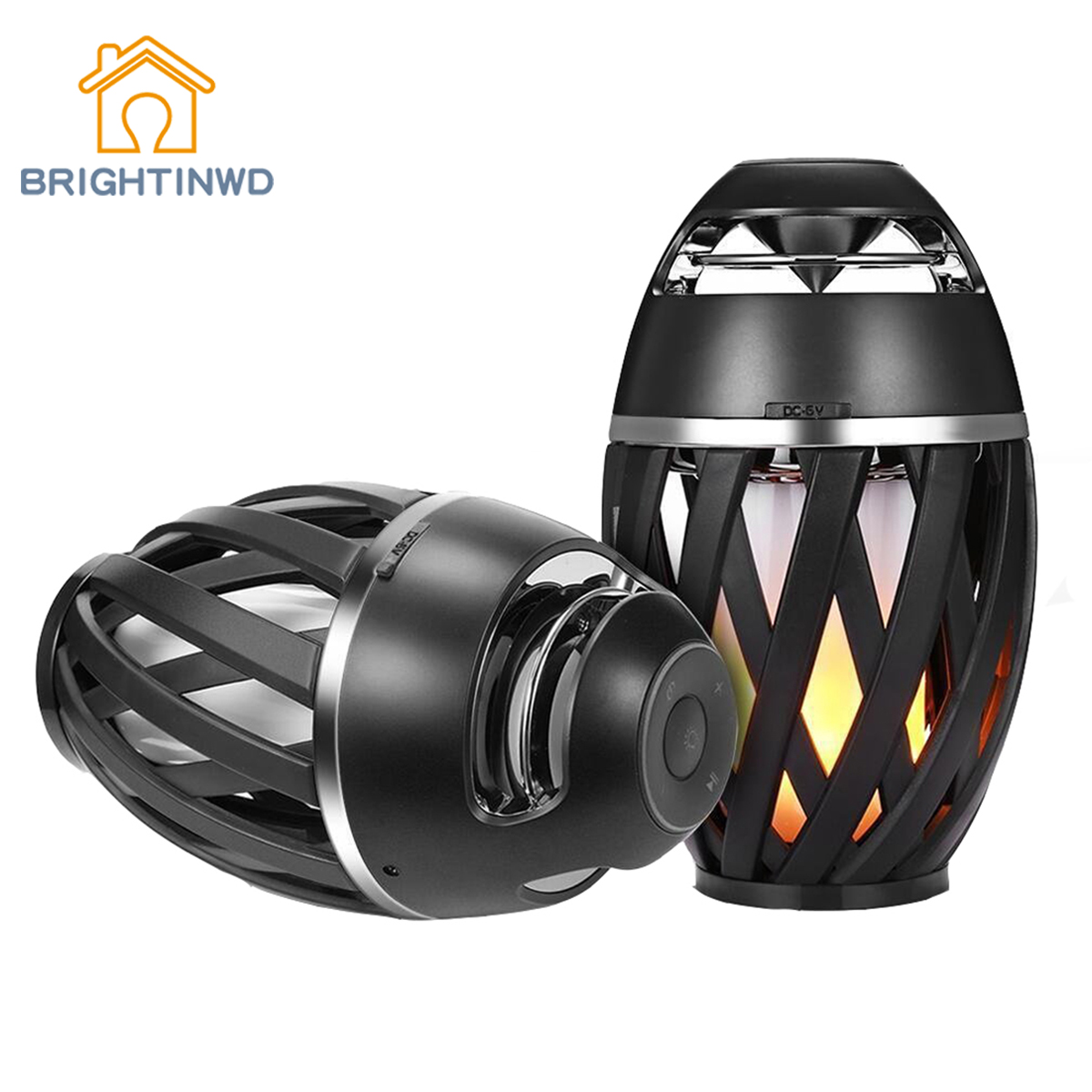 BRIGHTINWD i3 Flame Light Wireless Waterproof Flame Bluetooth Speaker Creative Mini Ambience Light Lawn Light