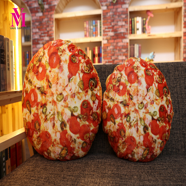 Vanmajor 1pc Funny Simulation Pizza Bread Plush Doy Toy Sofa Pillow Creative Food Throw