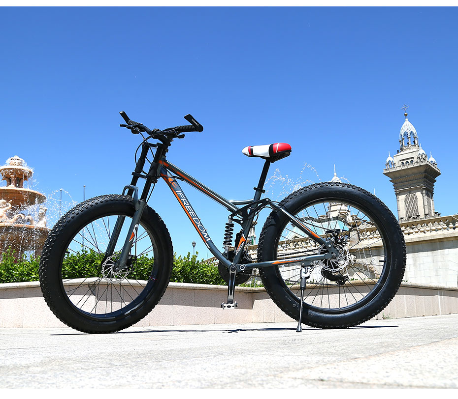 Love Freedom High Quality Bicycle 21/24 Speed Mountain Bike 26 Inch 4.0 Fat Tire Snow Bike Double disc Shock Absorbing Bicycle