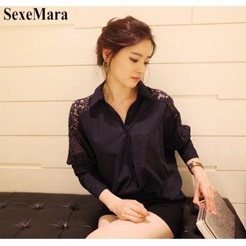 SexeMara 2019 New Spring And Autumn Korean Women's Large Size Lace Stitching Lapel Long Sleeve Chiffon Shirt Black White S-XL (3)