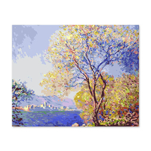 Digital painting decorative  color painted their Monet impression of the morning Antibes Diy by numbers hand