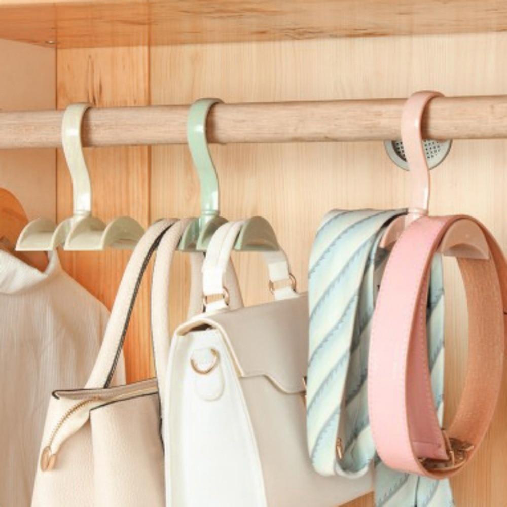 Bathroom Fixtures Smart 360 Degrees Rotated 2 Hooks Plastic Handbag Clothes Ties Bag Holders Shelf Hanger Hanging Rack Storage Organizer Hooks 2019 Official