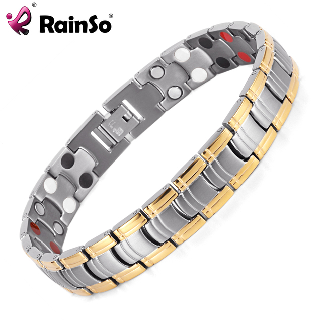 Rainso Men Jewelry Bio Energy Gold Color Magnetic Health Bracelet Bracelets Bangles Stainless Steel