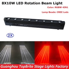 2XLot LED Bar Beam Moving Head Light High Quality 8X10W RGBW Quad Color LED Rotation Beam Lights Perfect For Dj Party Nightclubs
