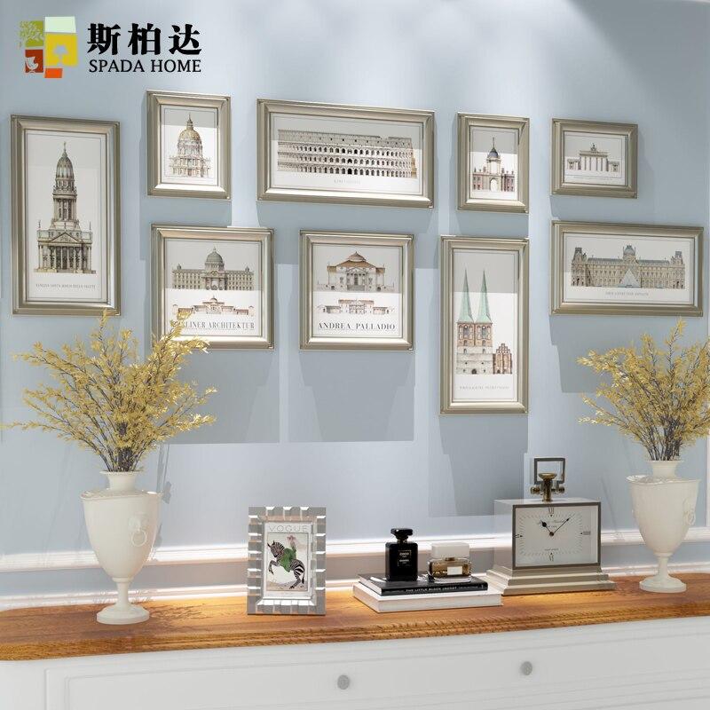 9 unids/set pared Marcos, porta retrato moldura, oro plástico imagen ...