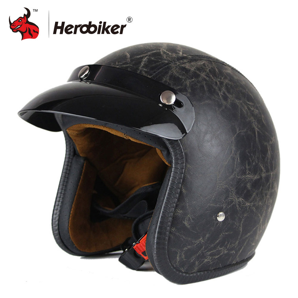New Synthetic Leather Motorcycle Helmet Vintage Retro 3/4 Open Face Helmet Cruiser Scooter Biker Chopper Casco Moto Helmet DOT