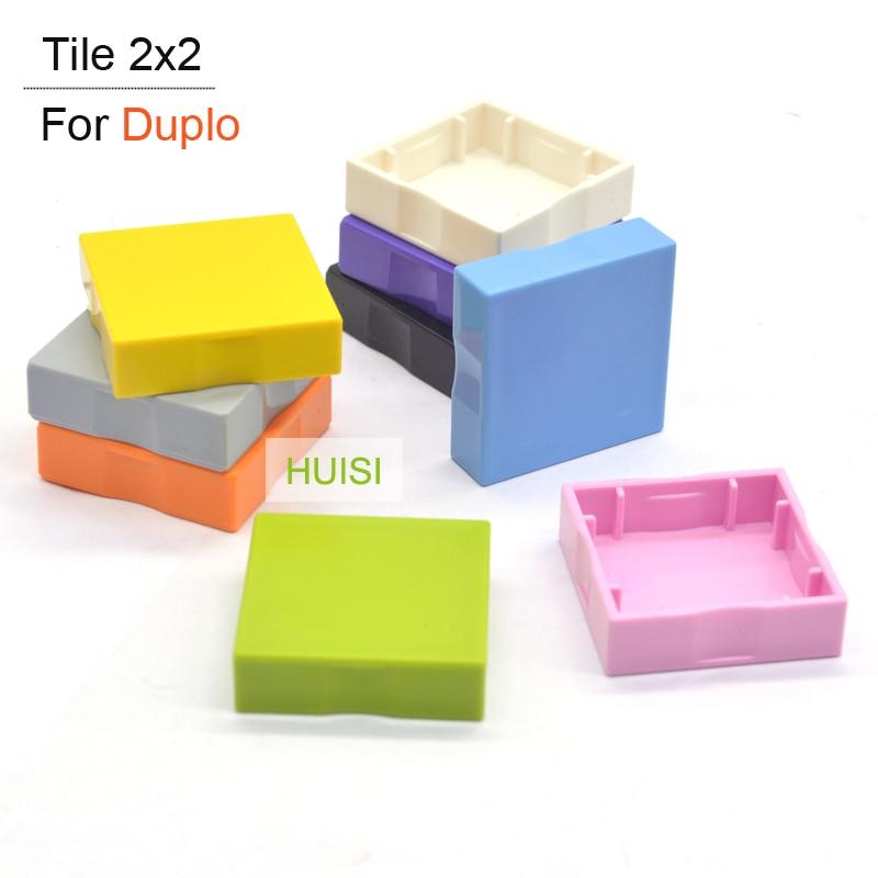 DUPLO Compatible Blocks Plastic Building Toys Bricks Parts Tile 2x2 Boys Girls Construction DIY Toys For Children Christmas Gift