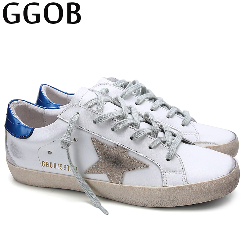 GGOB 2018 Autumn Brand Flats Shoes Women Casual Genuine Leather Shoes Woman White Sneakers Designer Korean Shoes For Women asumer white spring autumn women shoes round toe ladies genuine leather flats shoes casual sneakers single shoes