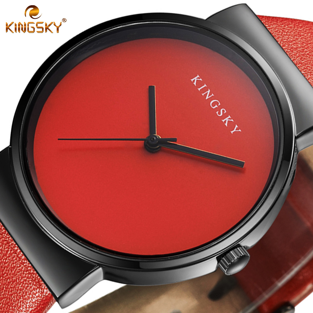 Women Watch Luxury Brand KINGSKY Leather Dress Fashion Casual Simple Bracelet Watches Quartz Ladies Wristwatch Relogio Feminino ccq brand fashion vintage cow leather bracelet roma watch women wristwatch casual luxury quartz watch relogio feminino gift 1810