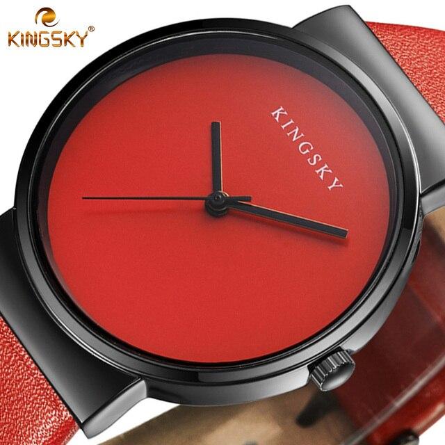 Women Watch Luxury Brand KINGSKY Leather Dress Fashion Casual Simple Bracelet Wa