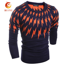 2017 New Spring O-Neck Navy Blue Men Sweaters Thin Knitted Pullover Sweater Men Lightning Pattern Long Sleeve Sweaters Pullovers
