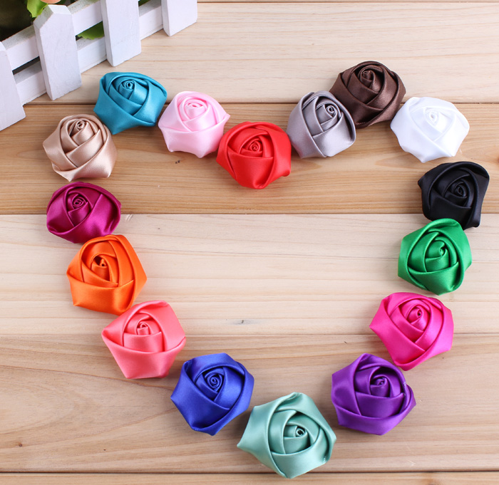 (120pcs/lot)16 Colors Flat Back Mini Satin Ribbon Rose Flower Accessories Handmade Rolled Rosettes For Hair Clip Or Headband