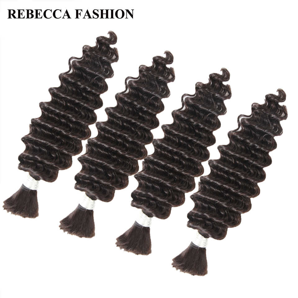 Rebecca Braziliaanse Remy Diepe Golf Bulk Menselijk Haar Voor Vlechten 4 Bundels Gratis Verzending 10 tot 30 inch Natuurlijke Kleur extensions