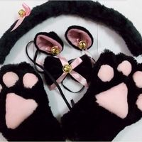 1Set New Anime Cosplay Costume Sweet Cat Ears Plush Paw Claw Gloves Tail Bow tie Halloween Party