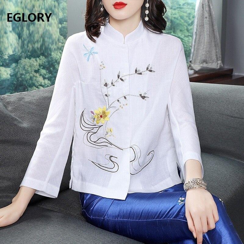 Blusas Feminino 2019 printemps été mode blanc rose Blouse femme Floral broderie à manches longues Vintage hauts chemise de grande taille
