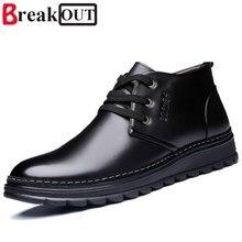 Romper Nuevos Hombres Botas de Invierno Botas de Nieve para Los Hombres Botas de Tobillo Calientes Atan Para Arriba con Felpa y Piel Moda Zapatos de los hombres