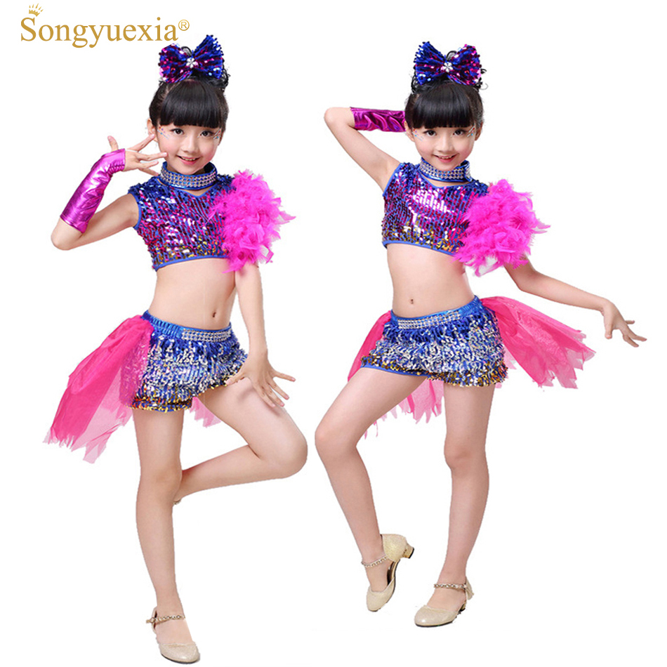 990d210af Detail Feedback Questions about Songyuexia Girls' Latin/Modern Dance  Clothes Children's Stage Dancing Costume with Flower Tailed Costume Top and  Pants 110 ...