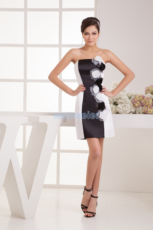 free shipping 2016 winter   dress   new design fashion real beading handmade flowers bride short sexy custom size/color   Prom     Dresses