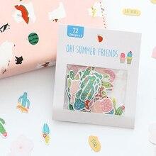 1pack/lot Kawaii Cute Cartoon Sticker Flamingo Cactus Cherry Blossom Stationery Stickers DIY Decorative Note Sealing Bookmark
