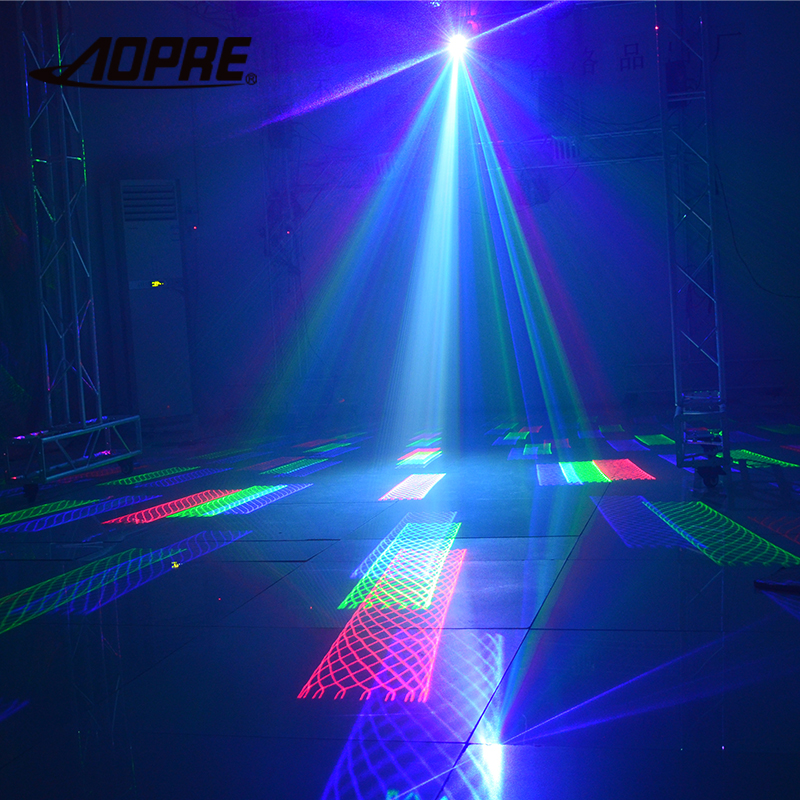 Laser Projecteur Animation RGB Laser Lumière de La Scène avec DMX Lumière Musique Activé Télécommande pour Party DJ Lumière de La Scène