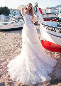 Image 4 - 2020 faszinierende Tüll Scoop Ausschnitt EINE Linie Brautkleider Mit Spitze Appliques Langen Ärmeln Strand Hochzeit Braut Kleid