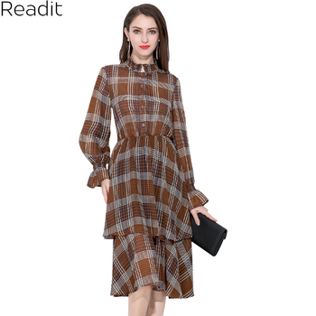 Readit Floral Printed Chiffon Dress Long Sleeve Women Dresses Summer A Line Stand Collar  Cake Dress Vestidos D2896 floral chiffon dress long sleeve