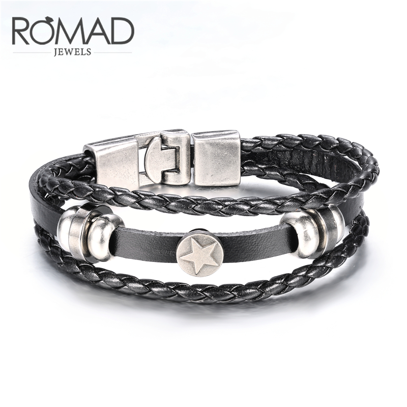 Us 1 31 39 Off Romad 2 Color Cowboy Star Leather Bracelets Fro Men Genuine Bangle Metal Antique Western Cattle Bransoletka In